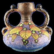 SALE Czecho-Slovakia Amphora Arts & Crafts Berry Motif Handled Vase (c. 1918-1936)