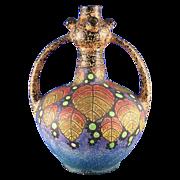 SALE Czechoslovakia Amphora Arts & Crafts Berry Motif Handled Vase (c.1918-1936)