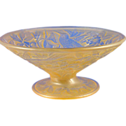 SALE Consolidated Glass Amber Wash Hummingbird Motif Compote (c.1920's)