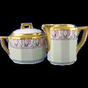 SALE C. Tielsch (CT) Altwasser Arts & Crafts Creamer & Sugar Set (Signed/c.1875-1934)
