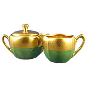 "RS Germany Pickard Studio Green & Gold ""Rose & Daisy AOG"" Creamer & Sugar Set (c.192"