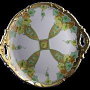 """SALE Jean Pouyat (JP) Limoges Stouffer Studios Autumn Leaf & Vine Motif Plate (Signed """"E."""