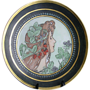 "Thomas Bavaria Arts & Crafts Mucha Style Woman with Strawberries Motif Plate (Signed ""Chr"