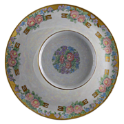 """RS Prussia Tillowitz Silesia Arts & Crafts Floral Motif Tiered Serving Plate (Signed """"A."""