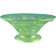 SALE Consolidated Glass Green Wash Floral Motif Bowl (c.1920's)