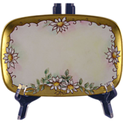 "SALE Limoges Porcelain Blank Daisy Motif Card Holder/Trinket Tray (Signed ""D. Harmon"""