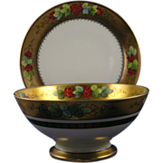 Coiffe Limoges & Thomas Bavaria Donath Studios Currant Motif Bowl & Under Plate Set (Signed  .