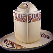 "SALE T&V Limoges Art Deco or Mission Style Canister/Tea Caddy & Tray Set (Signed ""Nazaret"