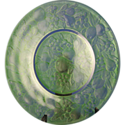 """SALE Consolidated Glass Green Wash """"Five Fruits"""" Pattern Martele Plate (c.1920's)"""