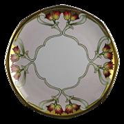 Moritz Zdekauer (MZ) Austria Arts & Crafts Tulip Motif Plate (c.1884-1909)