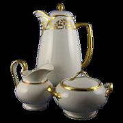 SALE Herrmann Ohme Silesia Art Deco Gold & White Coffee/Chocolate Pot & Limoges Creamer & Suga