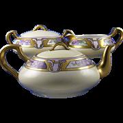 """Haviland Limoges Arts & Crafts Violet Motif Tea Set - Teapot, Creamer & Sugar (Signed """"Ed"""