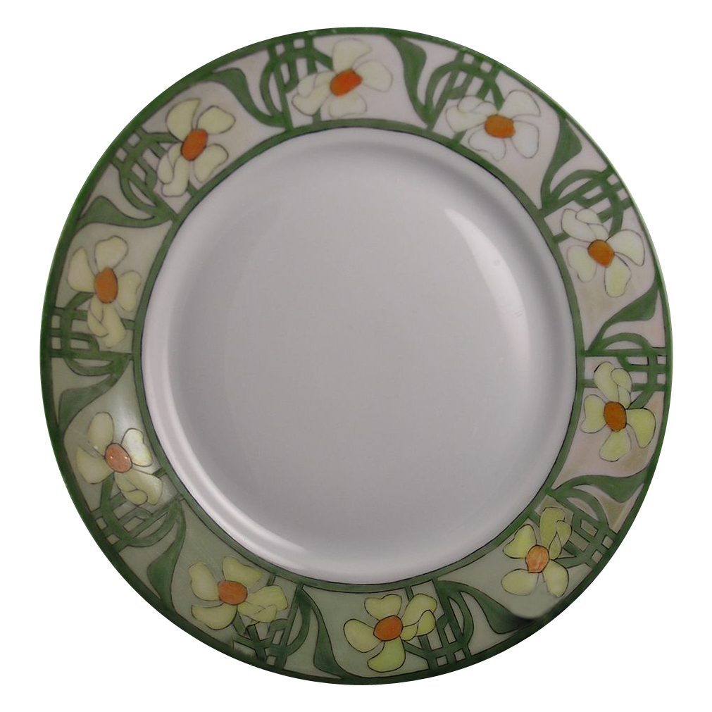 hutchenreuther bavaria arts crafts daisy cowslip motif plate signed from darkflowers on ruby lane. Black Bedroom Furniture Sets. Home Design Ideas