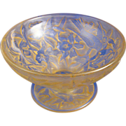 SALE Consolidated Glass Yellow Wash Martele Hummingbird Motif Compote (c.1920's)