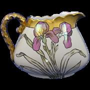 SALE Bavaria Lustre Iris Motif Pitcher (c.1910-1930)