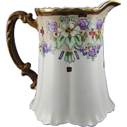 "Haviland Limoges Arts & Crafts Floral Motif Pitcher (Signed ""Isabelle C. Ayers""/c.18"