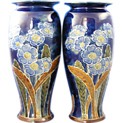 SALE Royal Doulton Arts & Crafts Floral Motif Vase Pair (Signed by Florence C. Roberts ...