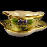 SALE Paroutaud Freres (P&P) Limoges Stouffer Studios Violet Design Sauce Dish & Under Plate  .