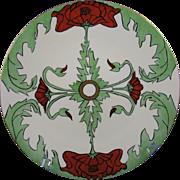 """SALE Jean Pouyat (JP) Limoges Arts & Crafts Poppy Motif Plate (Signed """"Lulu Stevens"""""""
