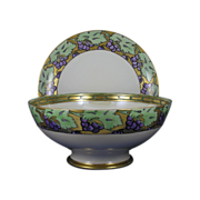 SALE Arts & Crafts Grape Motif Plainemaison Limoges Punch Bowl & Haviland Limoges Plate Set  .