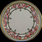 "SALE Bernardaud & Co. (B&Co.) Limoges Arts & Crafts Poppy Motif Plate (Signed ""O.B.K ..."
