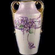 """SALE H. Wehinger Czechoslovakia Violet Motif Vase (Signed """"Myrtle""""/c.1905-1945)"""