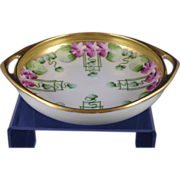 "SALE Pickard Studios ""Violets in Panel"" Design Handled Dish (c.1910-1912)"