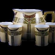 SALE William Guerin (WG & Co.) Limoges Mission/Arts & Crafts Cider/Lemonade Pitcher & Cups Set