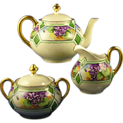 "Bavaria Arts & Crafts Violet Design Teapot, Creamer & Sugar Set (Signed ""E. Maret""/D"