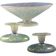 "Consolidated Glass Green Wash ""Orchid"" Design Centerpiece Bowl & Candlesticks Set (c"