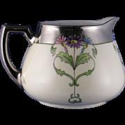 "SALE Zeh, Scherzer & Co. (ZS&Co.) Bavaria Arts & Crafts Floral Motif Pitcher (Signed ""Vio"