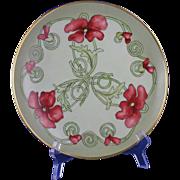 SALE George Bassett Limoges Arts & Crafts Poppy Motif Plate (Signed/c.1900-1914)