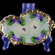 "Jean Pouyat (JP) Limoges White's Art Co. Violet Motif Serving/Pin Dish (Signed ""Porreca ."
