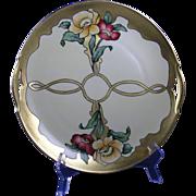 SALE Krister Porcelain Manufactory (KPM) Germany Arts & Crafts Poppy Motif Handled Plate (c ..