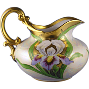 "Tressemann & Vogt (T&V) Limoges Iris Motif Pitcher (Signed ""A.S.P.""/c.1892-1907)"