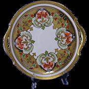 "SALE Pickard Studios ""Dahlia & Raised Gold Lustre"" Design Handled Plate/Charger"