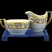 SALE Zeh, Scherzer & Co. Bavaria Arts & Crafts Blue & Gold Floral Motif Creamer &a