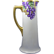 "PH Leonard Austria Arts & Crafts Grape Motif Pitcher/Ewer (Signed ""RMS""/c.1890-1"