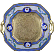 "SALE Pickard Studios ""Encrusted Linear"" Design Handled Plate (c.1912-1918)"