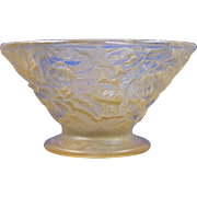 SALE Consolidated Glass Yellow Wash Martele Floral Bowl (c.1920's)