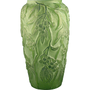 "SALE Consolidated Glass Martele Green Wash ""Bittersweet"" Design Vase (c. 1920's)"