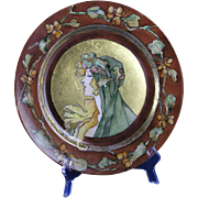 "Haviland Limoges Art Nouveau Mucha Inspired Autumn Lady Motif Plate (Signed ""Morrison"""