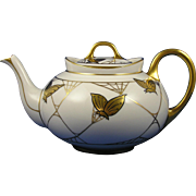 SALE Hutschenreuther Selb Bavaria Gold Butterfly Motif Teapot (Signed/c.1930-1940)