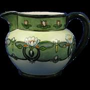 SALE Delinieres & Co. (D&Co.) Limoges Arts & Crafts Lotus Blossom Motif Pitcher (Signed /c.189