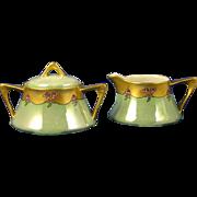 SALE Zeh Scherzer & Co. (ZS&Co.) Bavaria Arts & Crafts Rose & Lustre Design Creamer & Sugar Se
