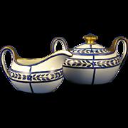 SALE Zeh Scherzer & Co. (ZS&Co.) Bavaria Arts & Crafts Blue Floral Design Creamer & Sugar Set
