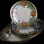 "SALE Germany Arts & Crafts Tulip Motif Bowl & 4 Plates Set (Signed ""F. Blanchard""/Da"