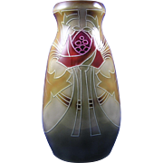 Royal Bonn Germany Arts & Crafts Tube-Lined Thistle Motif Vase (c.1899-1923)