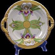 """SALE Haviland Limoges Iris & Lustre Motif Handled Bowl (Signed """"Ursch""""/c.1894-1931)"""