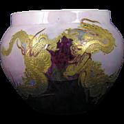 SALE Large Tressemann & Vogt (T&V) Limoges Arts & Crafts Chinese Dragon Motif Jardinière/Vase